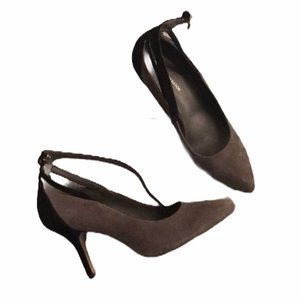 BCBG suede color block heels black and gray size 7